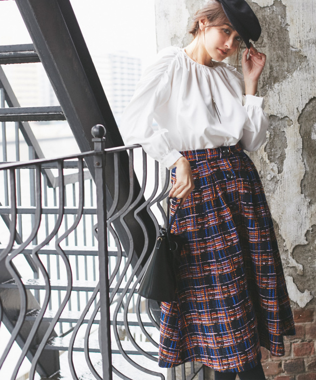 カラーミックスツイードフロントボタンスカート