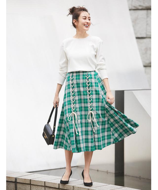 スピンドルデザインチェック柄スカート*SALE品につき返品/交換/注文確定後の変更キャンセル不可*