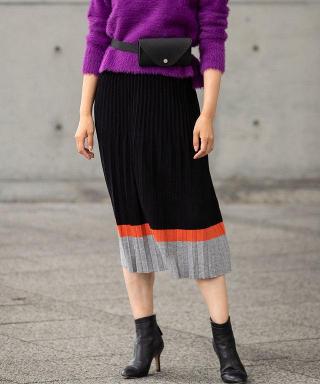 1月31日午前0:00WEB限定再販!カラー配色プリーツニットスカート