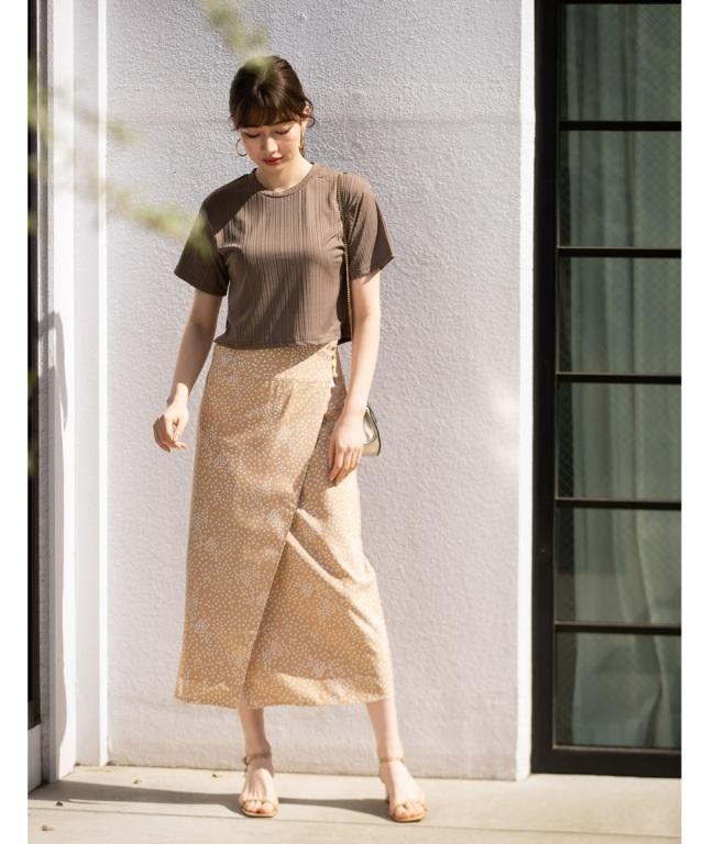 ランダムドットラップロングタイトスカート*SALE品につき返品/交換/注文確定後の変更キャンセル不可*