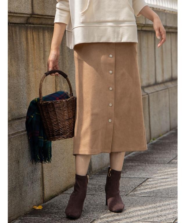 11月1日午前0:00再販!フェイクスエードフロントスナップタイトスカート