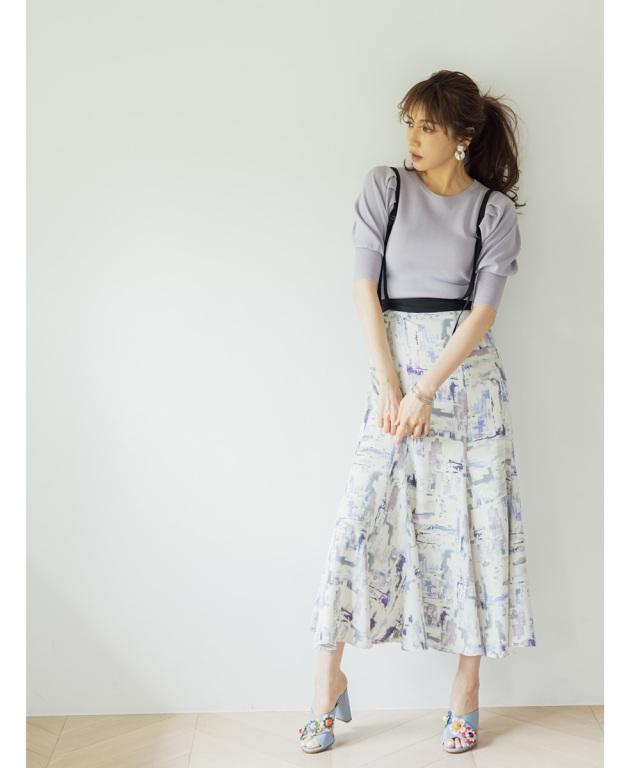 【美香さん着用】サス付きグラフィックプリントスカート※店舗販売日は4月29日~となります*SALE品につき返品/交換/注文確定後の変更キャンセル不可*