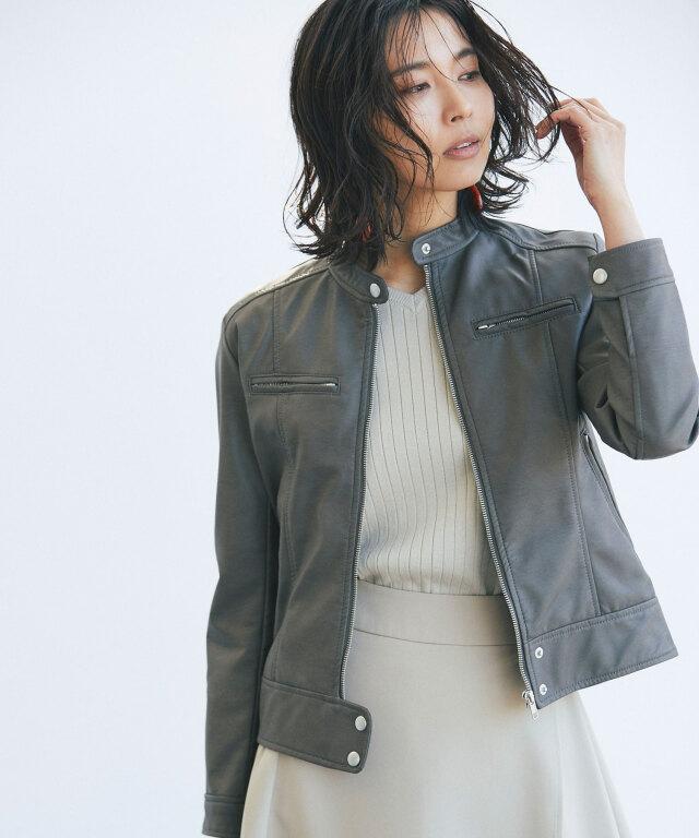 【Fake leather riders jacket】レディース 合皮 ライダース