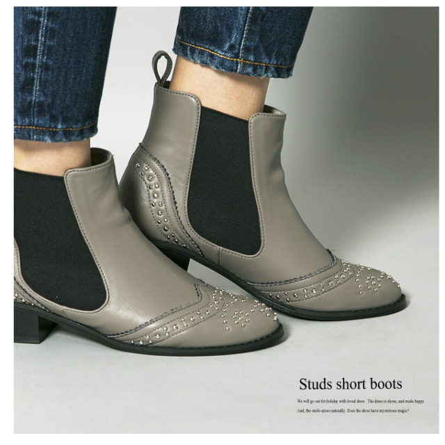 《CLASSY.1月号掲載》【Studs short boots】レディース スタッズ ブーツ
