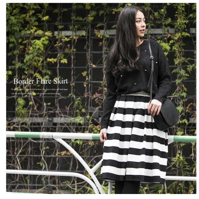 【Border skirt】レディース スカート*SALE品につき返品/交換/注文確定後の変更キャンセル不可*