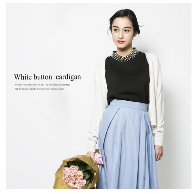 【White button cardigan】レディース カーディガン*SALE品につき返品/交換/注文確定後の変更キャンセル不可*