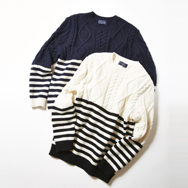 &.NOSTALGIA Luxe line【Border cable Knit】レディース  日本製 ニット*SALE品につき返品/交換/注文確定後の変更キャンセル不可*