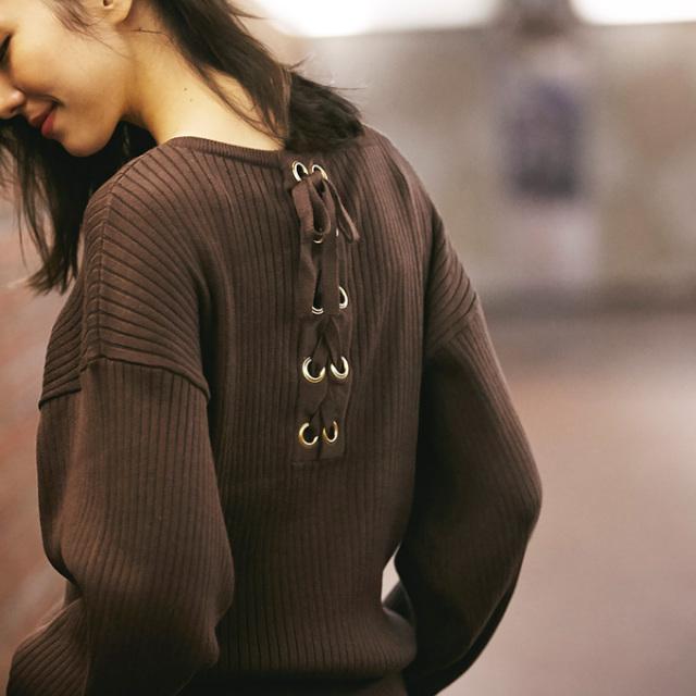 12月8日午前0:00再販!《InRed 2月号掲載》【Back lace-up knit】レディース  編み上げ ニット
