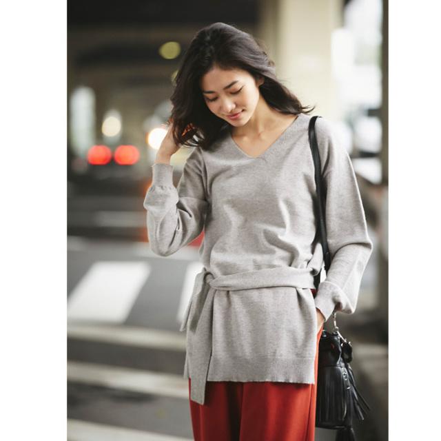 《InRed 2月号掲載》【Waist ribbon knit】レディース  ウエスト リボン ニット