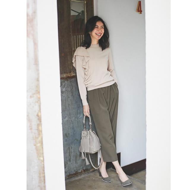 《Marisol 2月号掲載》【Belt wide pants】レディース  裏起毛 パンツ
