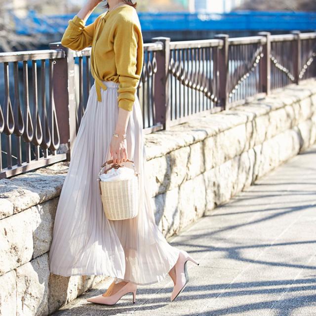 【Chiffon maxi pleats skirt】レディース シフォン プリーツ スカート