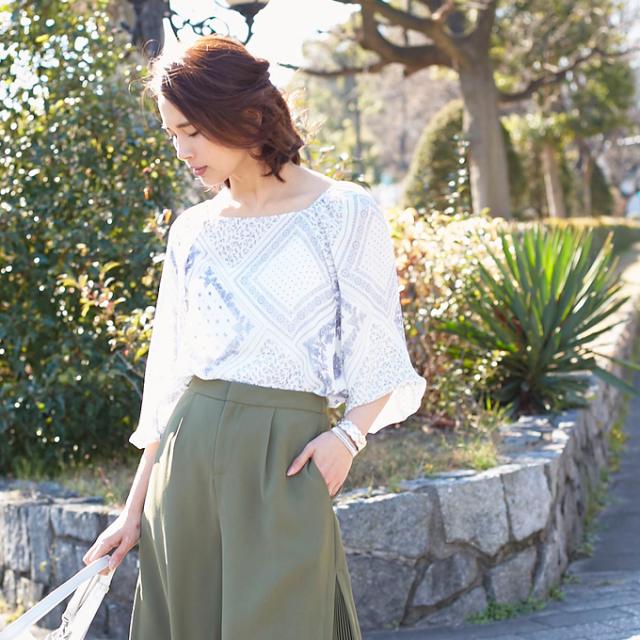 【Bandana print blouse】レディース バンダナ柄 ブラウス