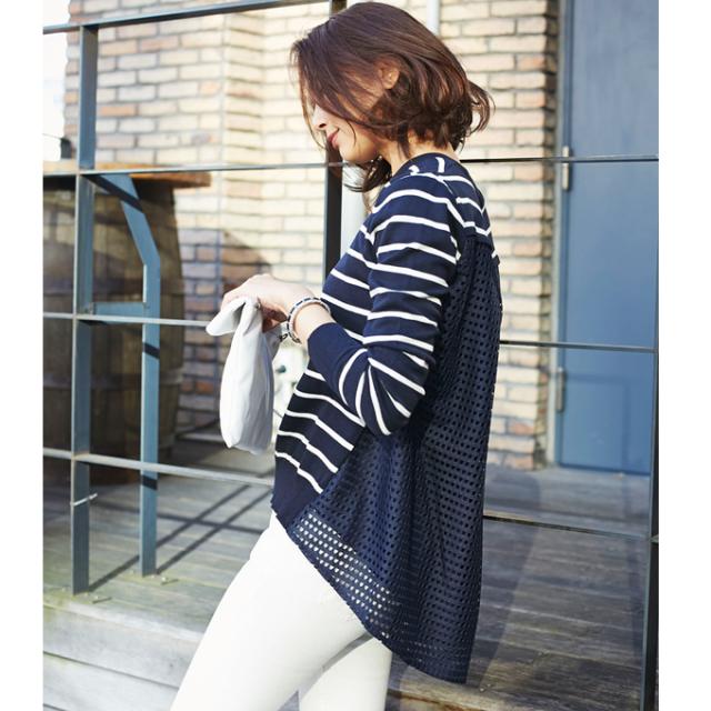 【Back lace border knit】レディース  バックレース ボーダー ニット*SALE品につき返品/交換/注文確定後の変更キャンセル不可*