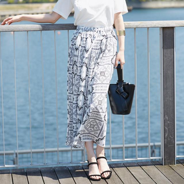 【Print long skirt】レディース  ロング スカート