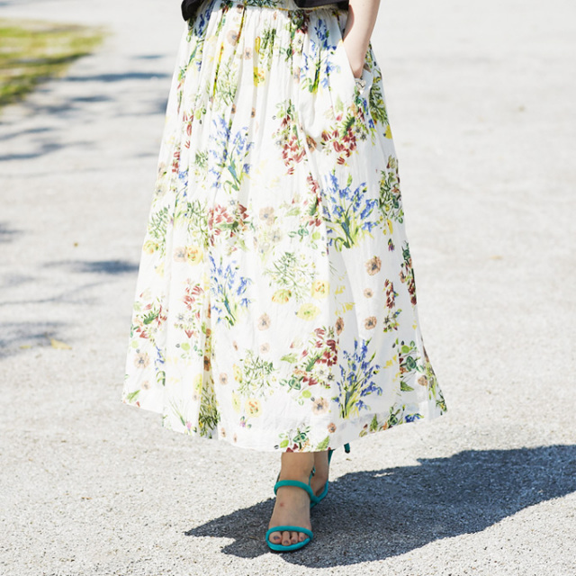 【Flower print skirt】レディース  花柄 スカート