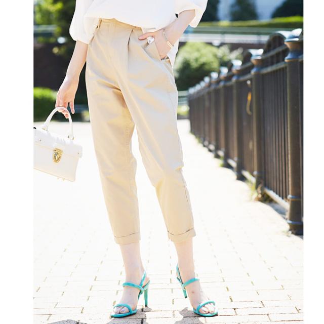 【High waist tuck pants】レディース  ハイウエスト タックパンツ
