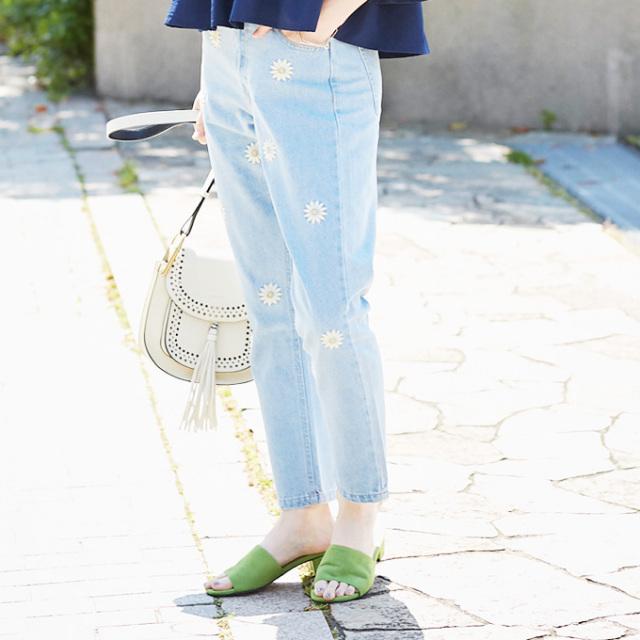 【Embroidery denim pants】レディース  デニム 刺繍 パンツ