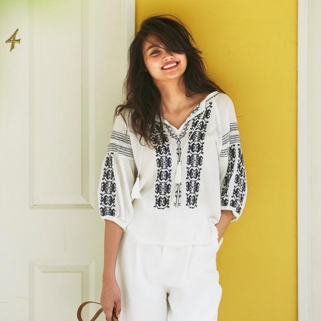【Embroidery blouse】レディース  刺繍 ブラウス