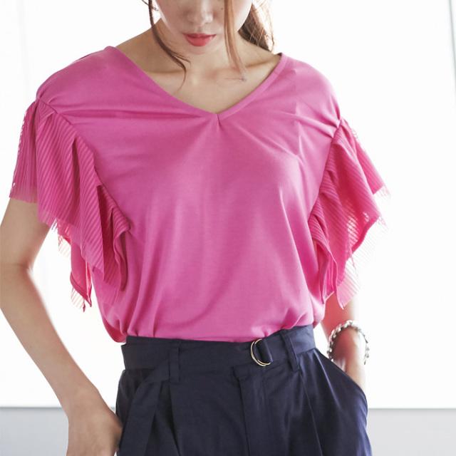 【Stripe tulle sleeve tops】レディース  チュール袖 トップス