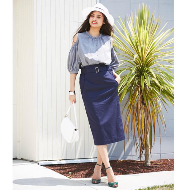 【Waist belt tight skirt】ベルト タイトスカート