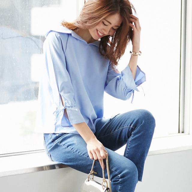 【Off collar blouse】レディース  オフカラー ブラウス