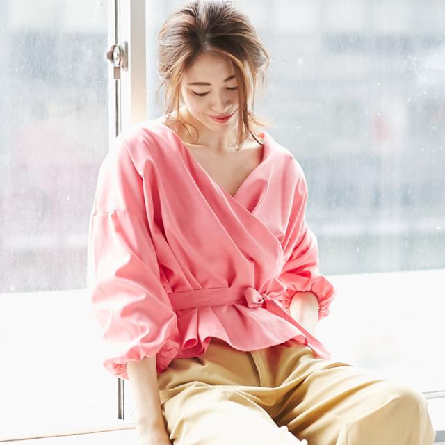 【Cache coeur blouse】レディース  カシュクール ブラウス