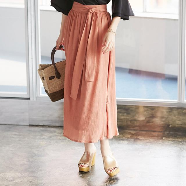 【Waist ribbon gather skirt】レディース  ギャザー スカート