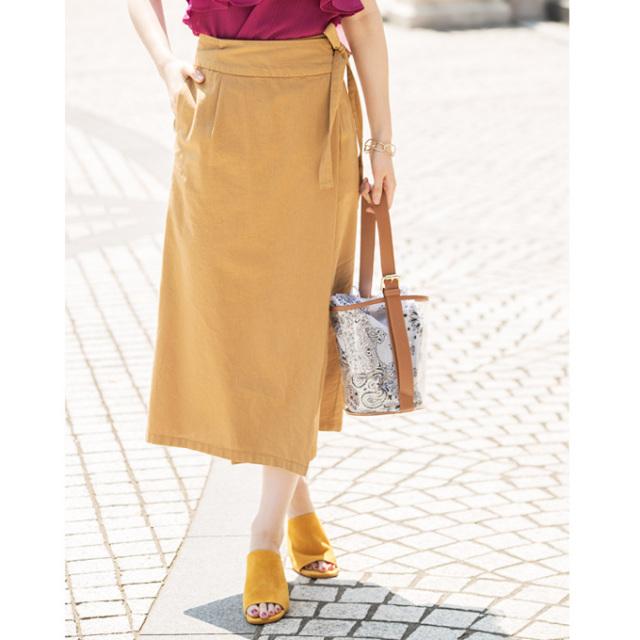 【Cotton linen rap skirt】レディース  コットンリネン ラップ スカート