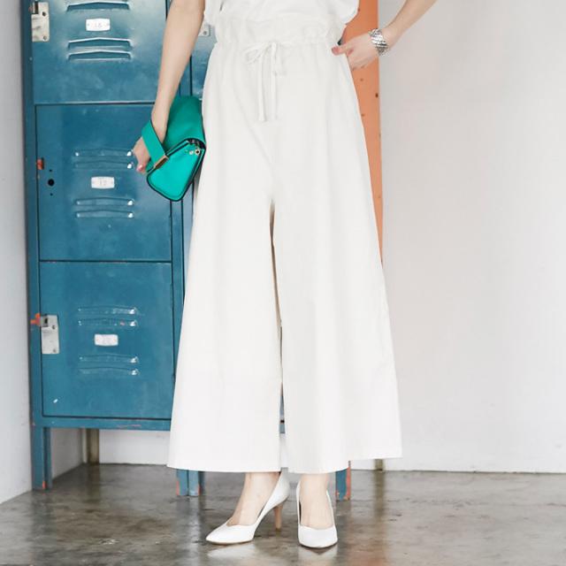 【Drawstring wide pants】レディース ワイド パンツ