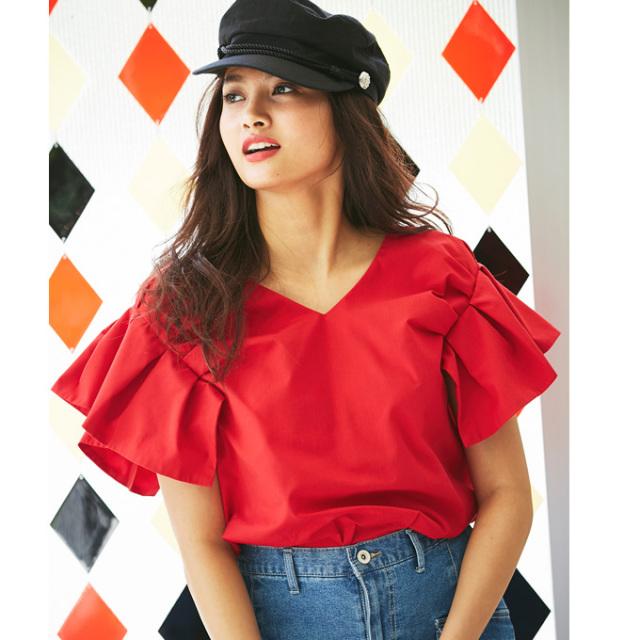 【Tuck frill sleeve blouse】レディース  フリル ブラウス