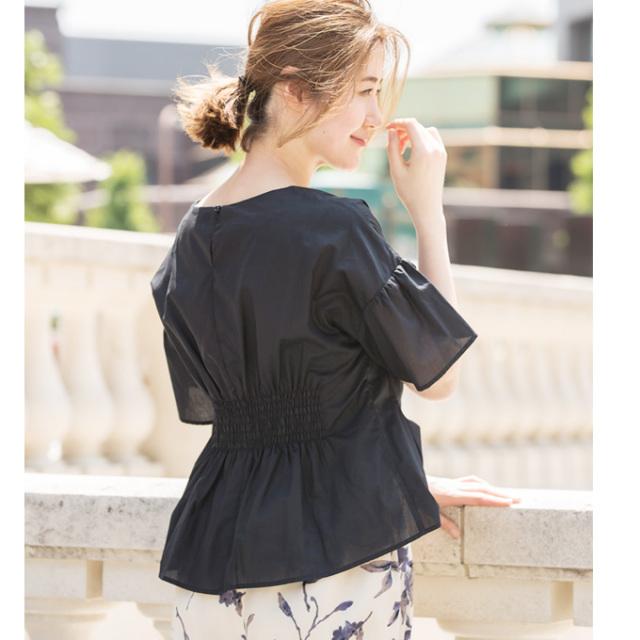 【Back shirring design blouse】レディース  バックシャーリング ブラウス