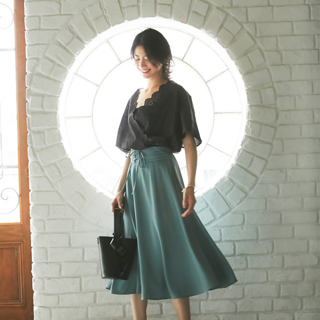 【Corset belt mimore skirt】レディース コルセット ミモレ スカート*SALE品につき返品/交換/注文確定後の変更キャンセル不可*