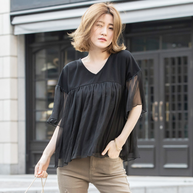 【Chiffon flare blouse】レディース  シフォン フレア ブラウス*SALE品につき返品/交換/注文確定後の変更キャンセル不可*