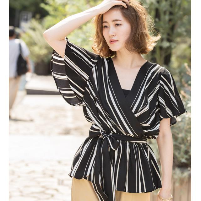 【Multi stripe cache-coeur blouse 】レディース  カシュクール ブラウス