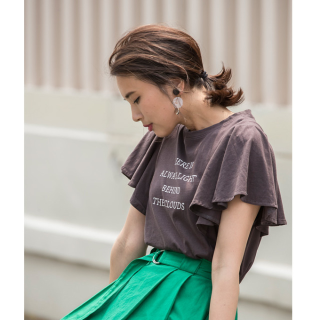 【Logo print flare sleeve Tshirt】レディース  ロゴプリント フレア Tシャツ