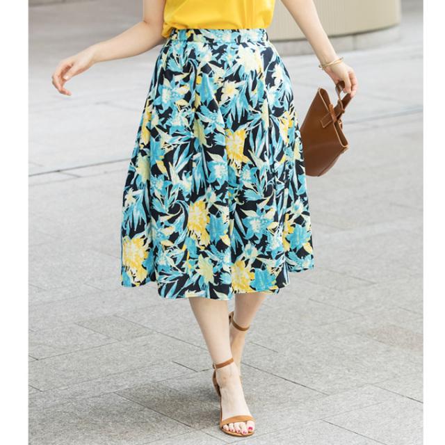 【Flower print asymmetry tuck skirt】レディース  花柄 アシンメトリー タック スカート