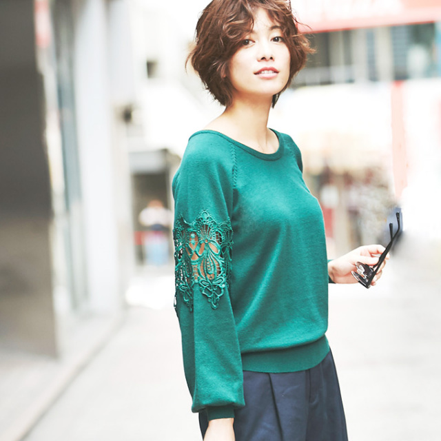 【Lace sleeve knit pullover】透かしレース ニット