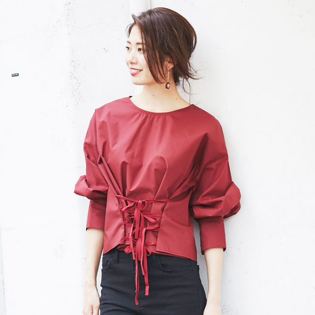 【3way volume sleeve lace up blouse】3WAY コルセット トップス