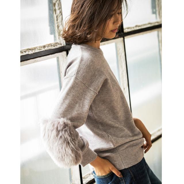 【Fur sleeve knit pull over】ファースリーブ ニット*SALE品につき返品/交換/注文確定後の変更キャンセル不可*