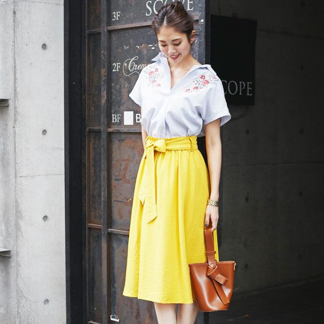 【Waist ribbon flare skirt】ウエストリボン スカート