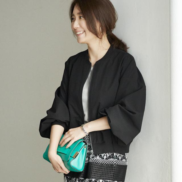 【Volume sleeve ribbon blouson】東原妙子さん着用 ボリューム袖 ブルゾン