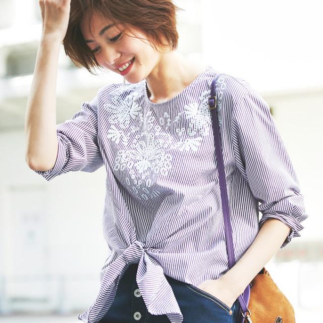 【Stripe embroidery ribbon blouse】ストライプ刺繍 リボン ブラウス *bargain品につき 返品/交換/注文確定後の変更キャンセル 不可*