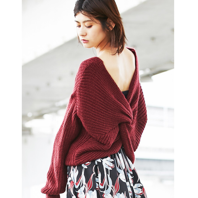 《CanCam2月号掲載》 【2way twist knit pullover】2WAY ツイスト ニット *bargain品につき 返品/交換/注文確定後の変更キャンセル 不可*