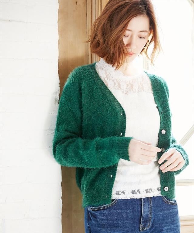 【Feather yarn short cardigan】フェザーヤーン カーディガン