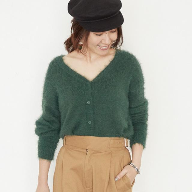 【Feather yarn short cardigan】東原妙子さん着用 フェザーヤーン カーディガン