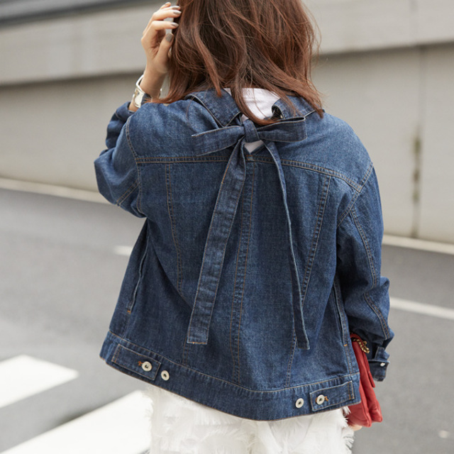 【Back ribbon denim jacket】東原妙子さん着用 バックリボン Gジャン