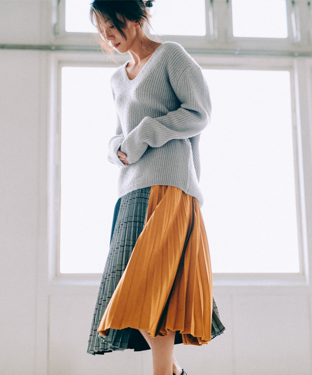 異素材MIXパネルプリーツスカート