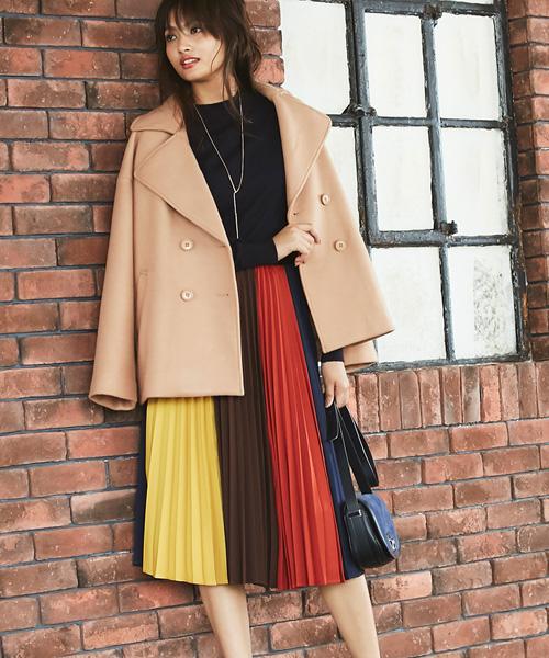 4colorパネルプリーツスカート