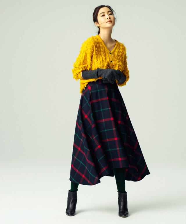 《VERY2月号掲載》 11月21日午前0:00再販!チェック柄ヘムラインロングスカート