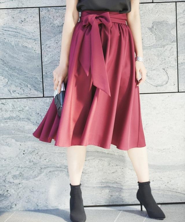 《CLASSY.2月号掲載》 《Luxe line》オケージョンギャザーミモレボリュームスカート